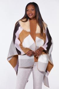 Fur Collar Colorblock Poncho