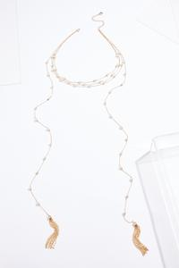 Tasseled Pearl Wrap Necklace