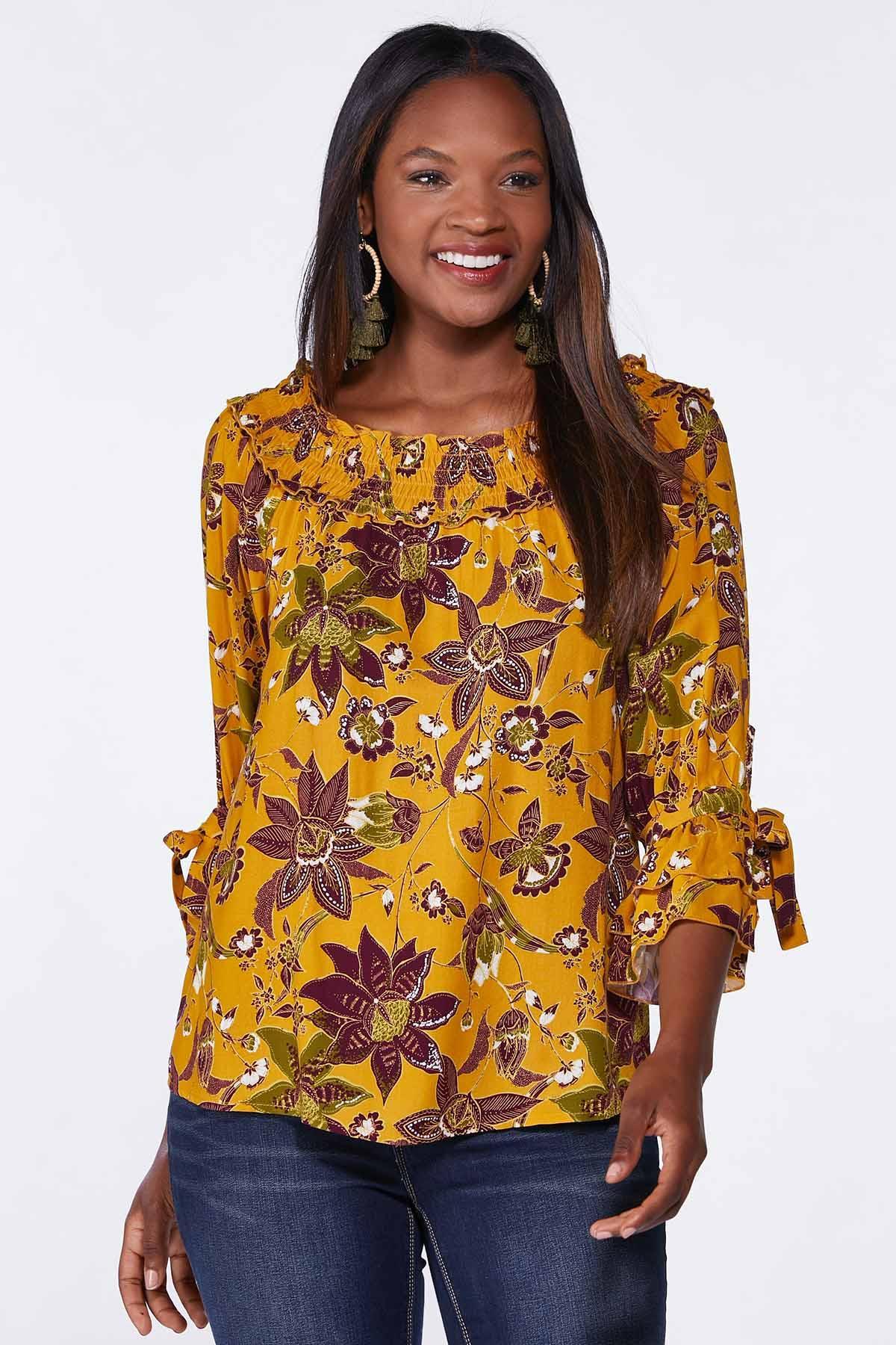 Plus Size Golden Floral Poet Top