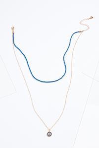 Navy Stone Pendant Necklace