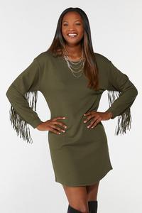 Plus Size Fringe Trim Shift Dress