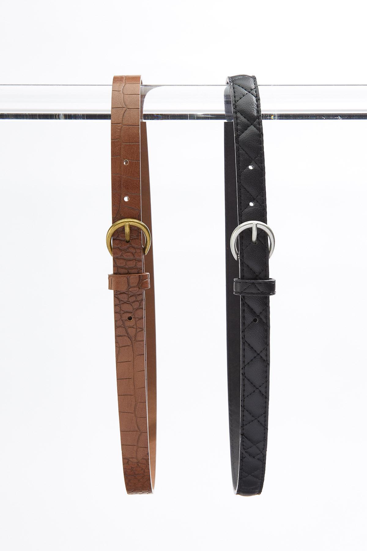 Plus Size Quilt Croc Skinny Belt Set