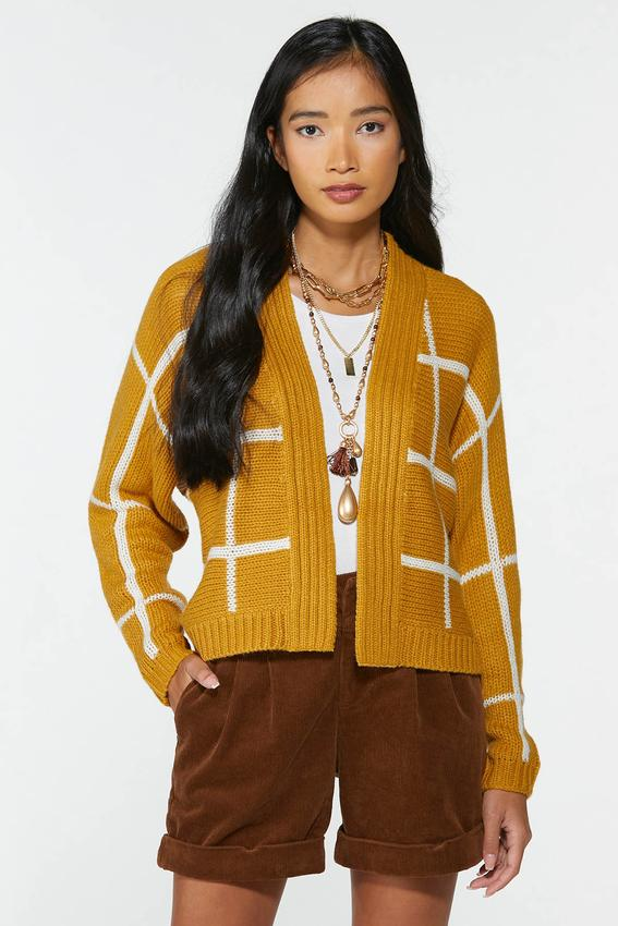 Golden Check Cardigan Sweater