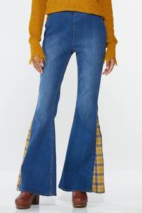Petite Plaid Inset Flare Jeans