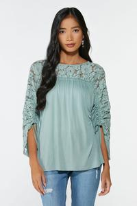 Lacy Ruched Sleeve Top