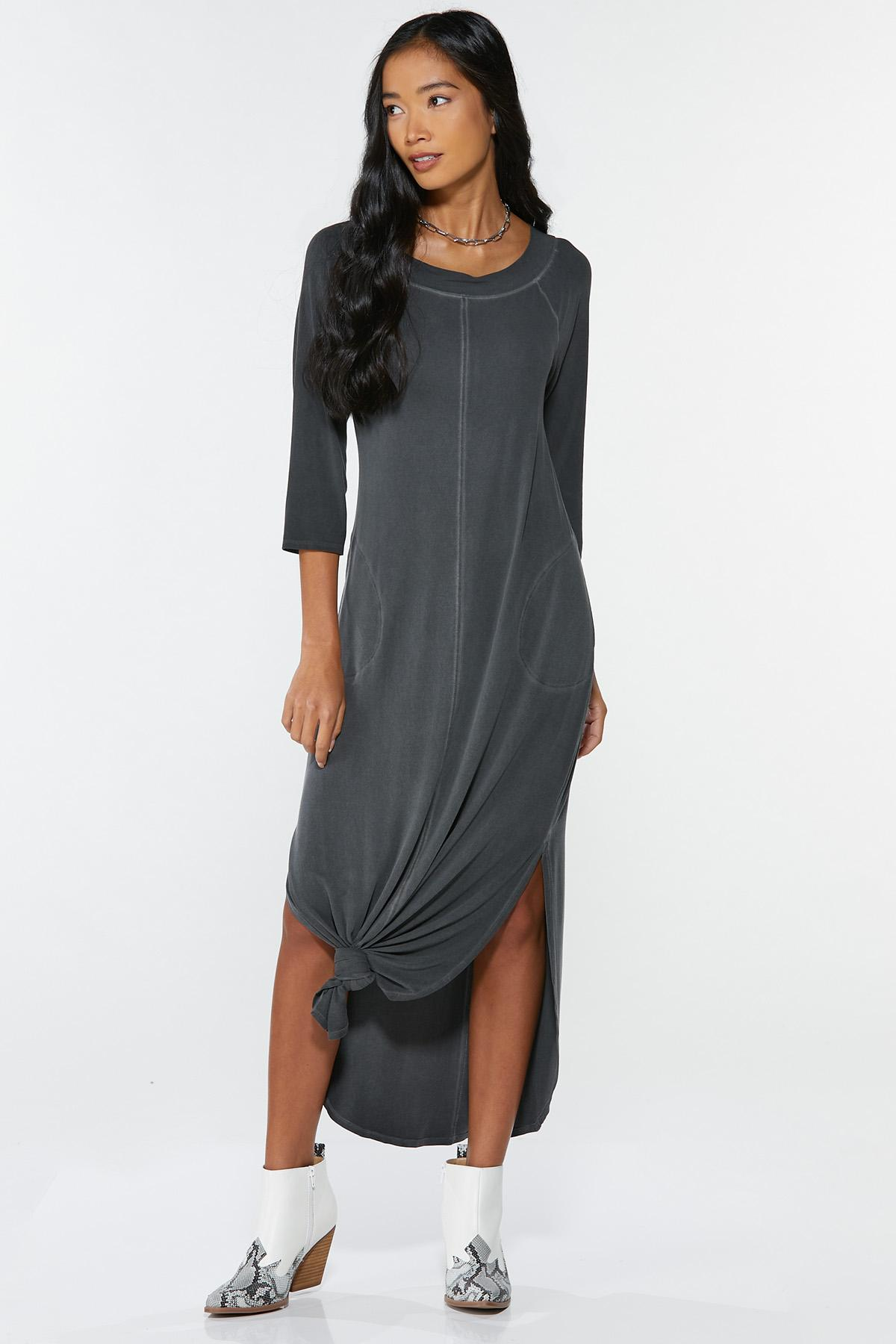 Plus Size Knotted Maxi Shirt Dress