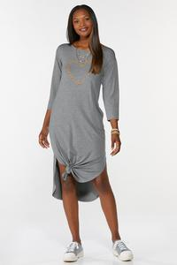 Plus Size Knotted Leopard Heart Shirt Dress