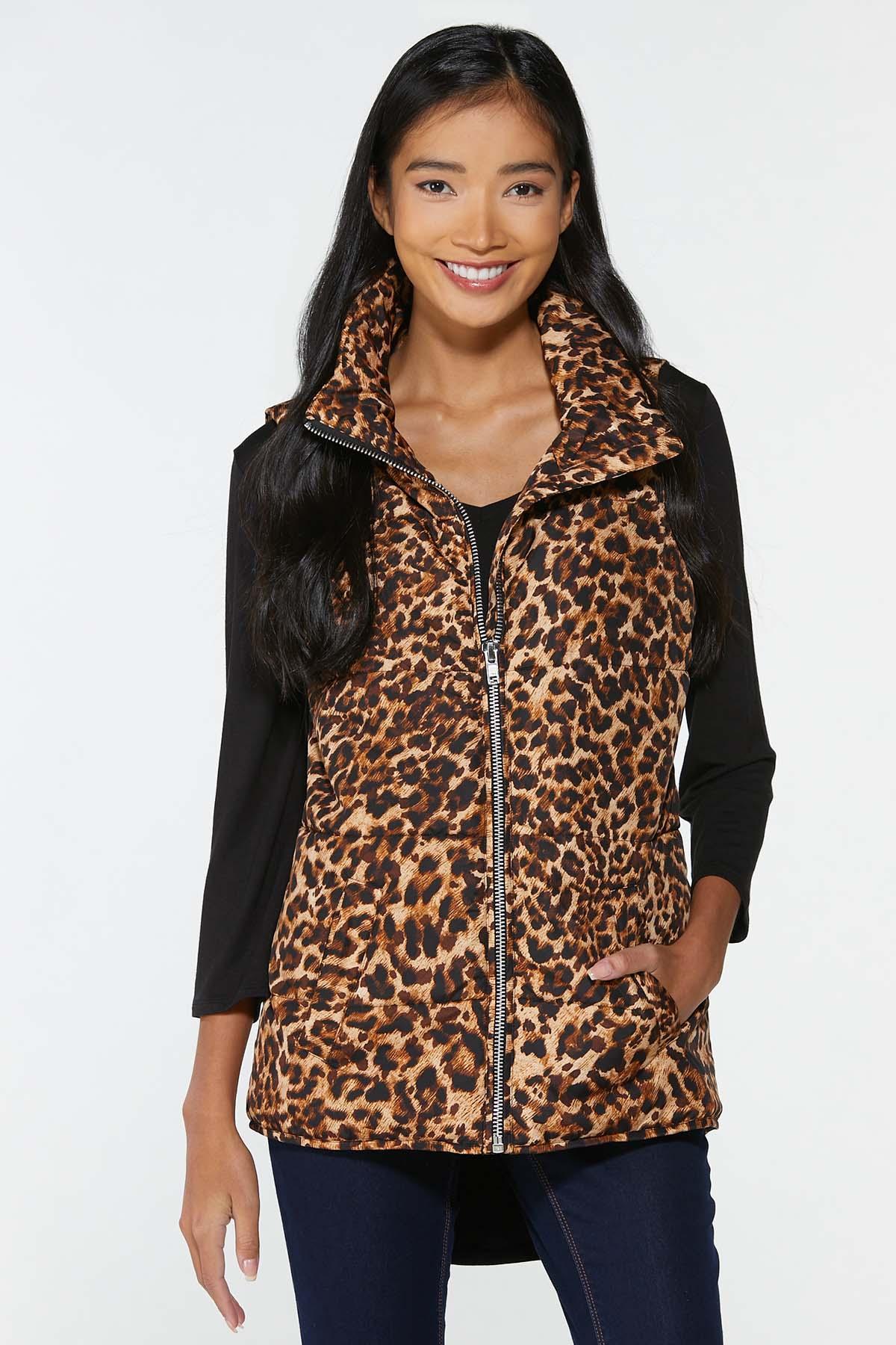 Plus Size Leopard Puffer Vest