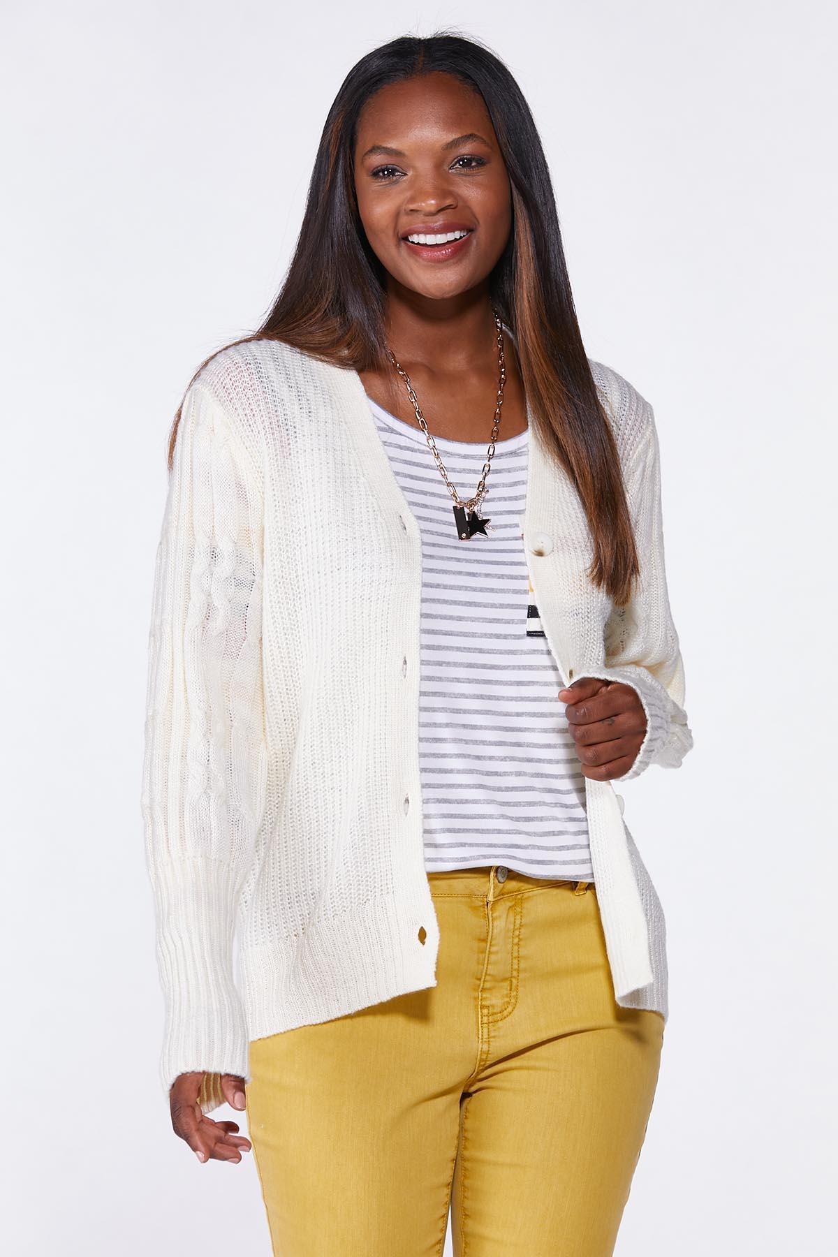 Plus Size Ivory Cardigan Sweater