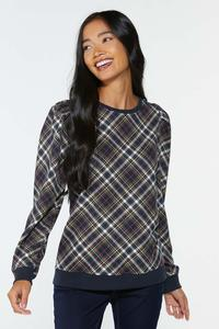 Plaid Puff Sleeve Sweatshirt