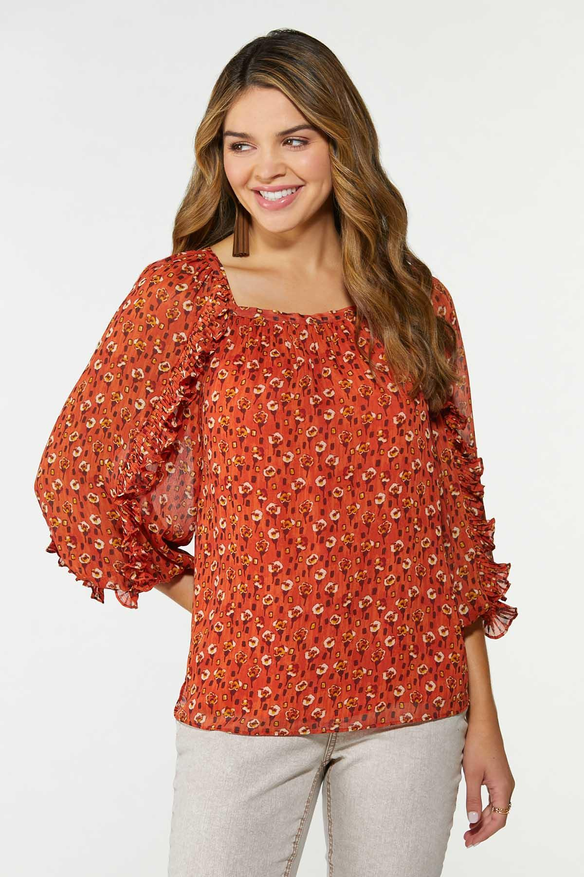 Plus Size Ruffled Floral Top