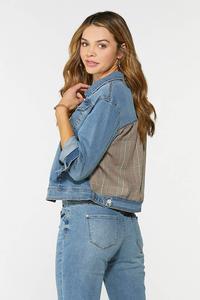 Plus Size Plaid Back Denim Jacket