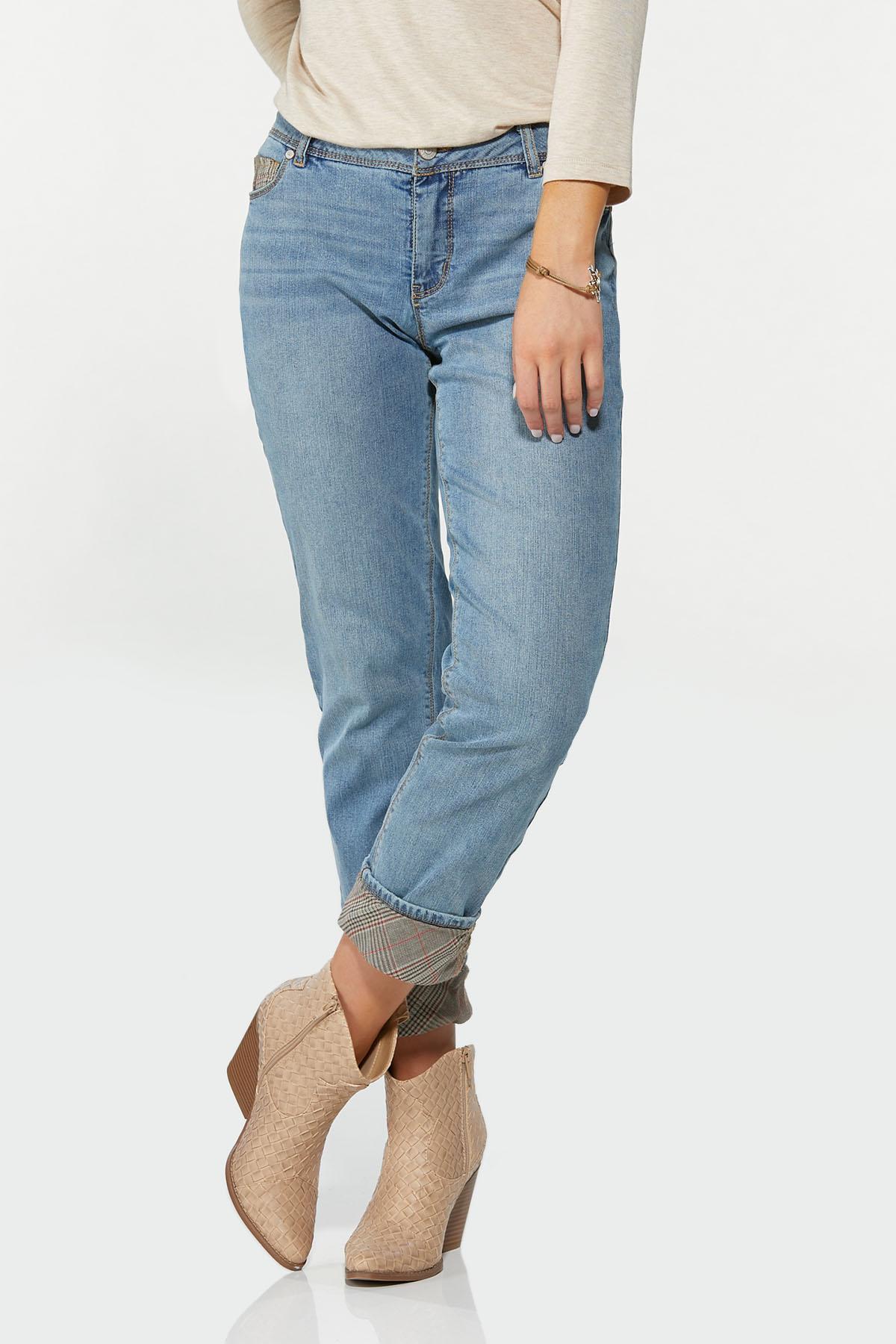 Plaid Cuff Girlfriend Jeans