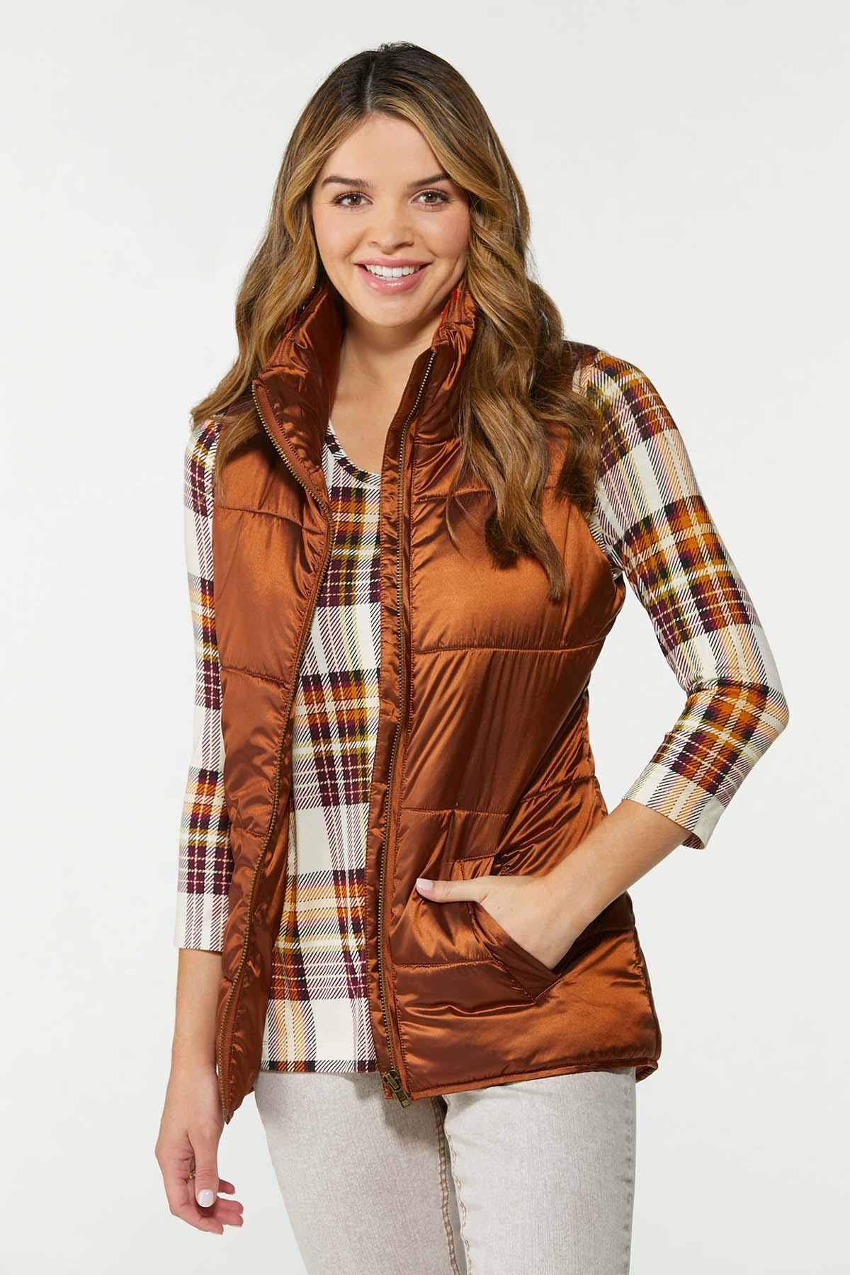 Plus Size Bronze Puffer Vest