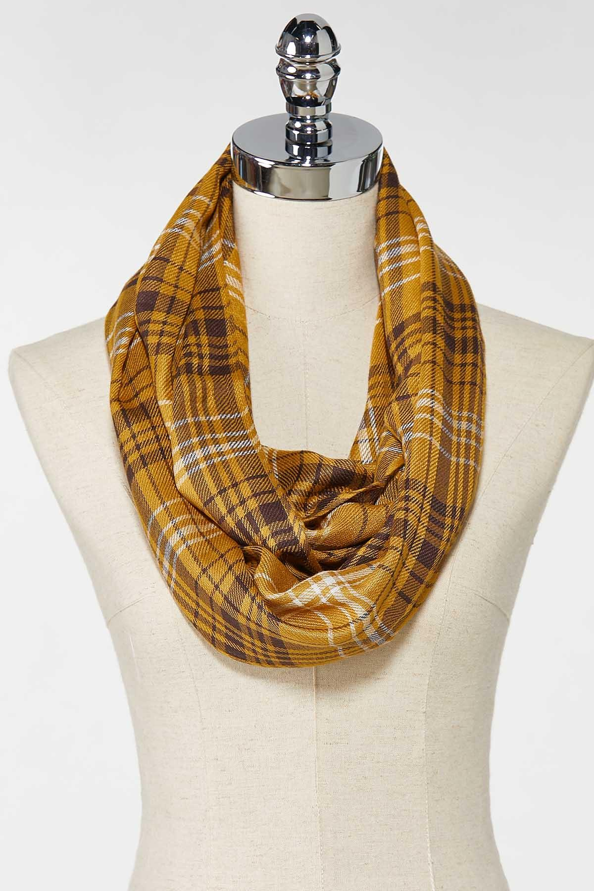 Gold Plaid Infinity Scarf