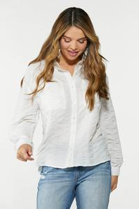 Plus Size Textured Collared Shirt