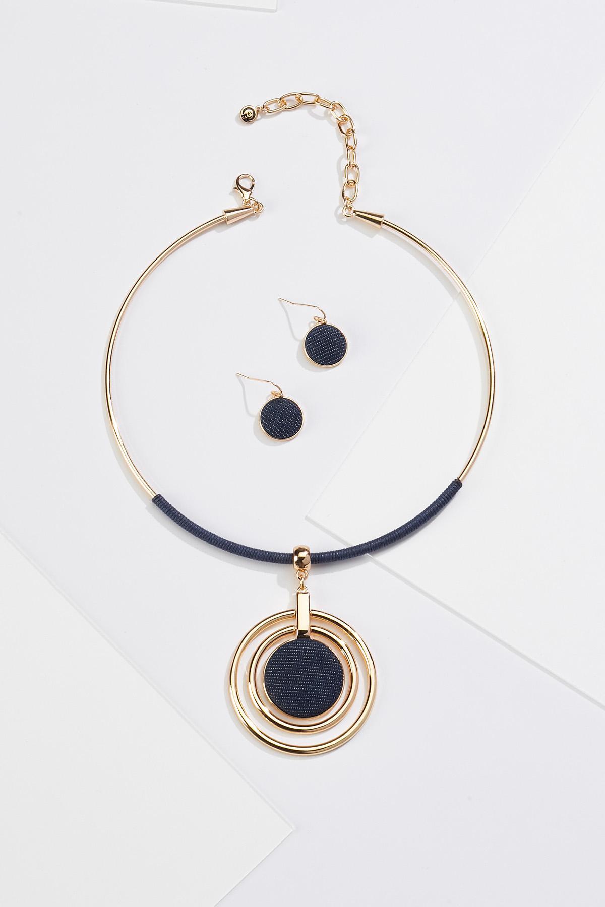 Denim Pendant Necklace Earring Set