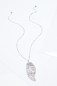 Textured Leaf Pendant Necklace