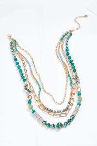 Gold Teal Layered Necklace