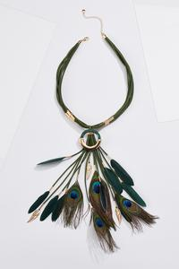 Peacock Feather Cord Necklace