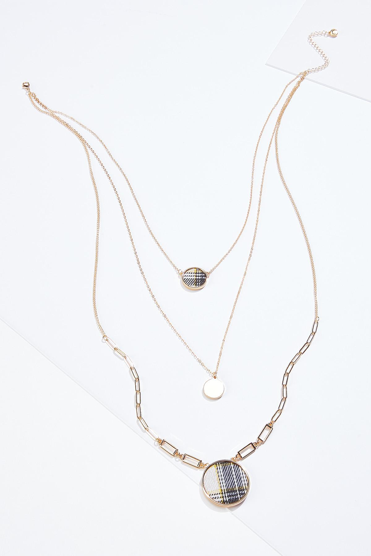 Layered Plaid Disc Necklace