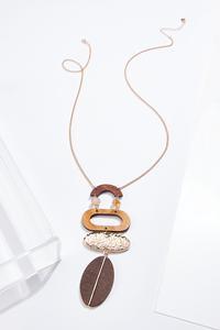 Wood Statement Pendant Necklace