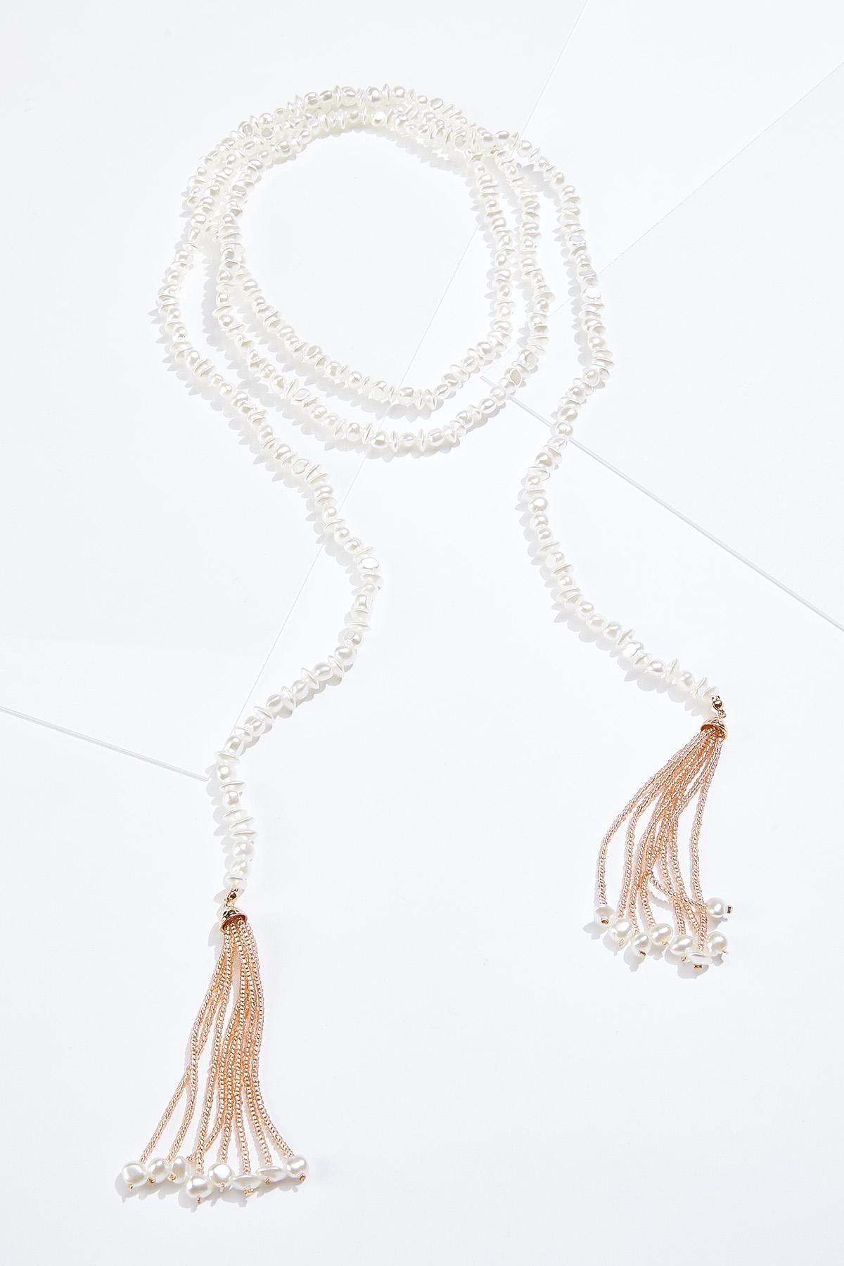Gold Pearl Tassel Necklace