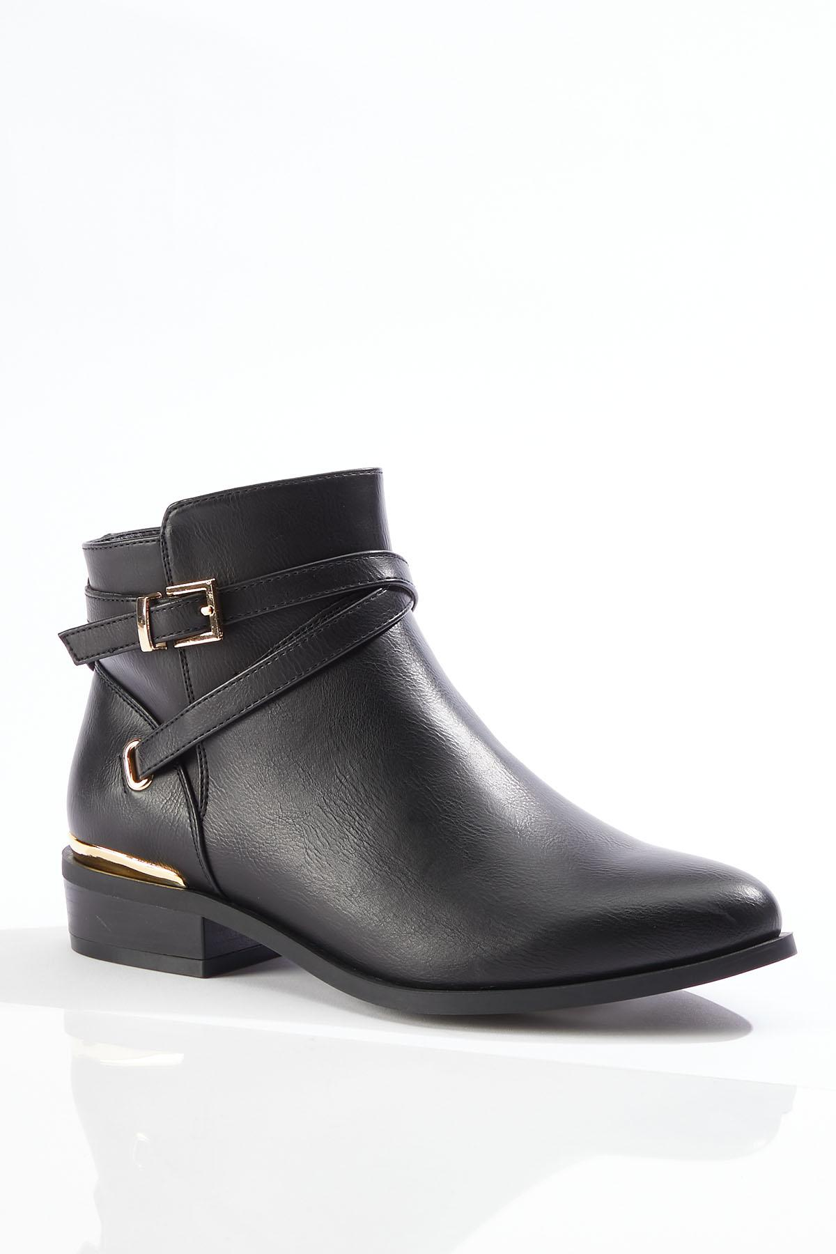 Wide Width Strappy Buckle Booties