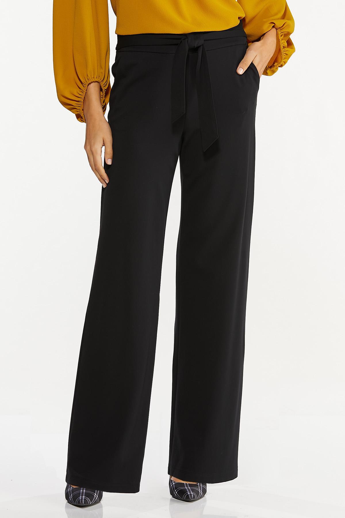 Petite Tie Waist Ponte Pants