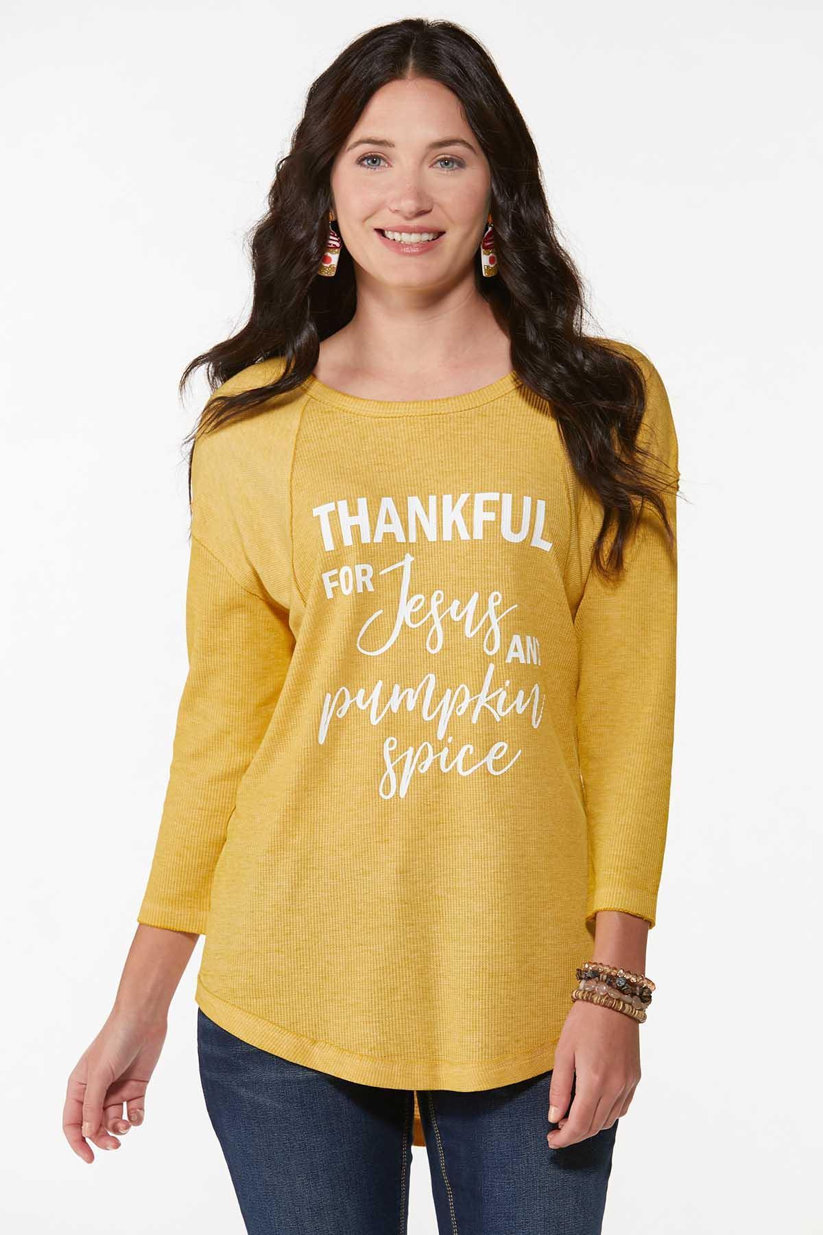 Plus Size Thankful Waffle Top