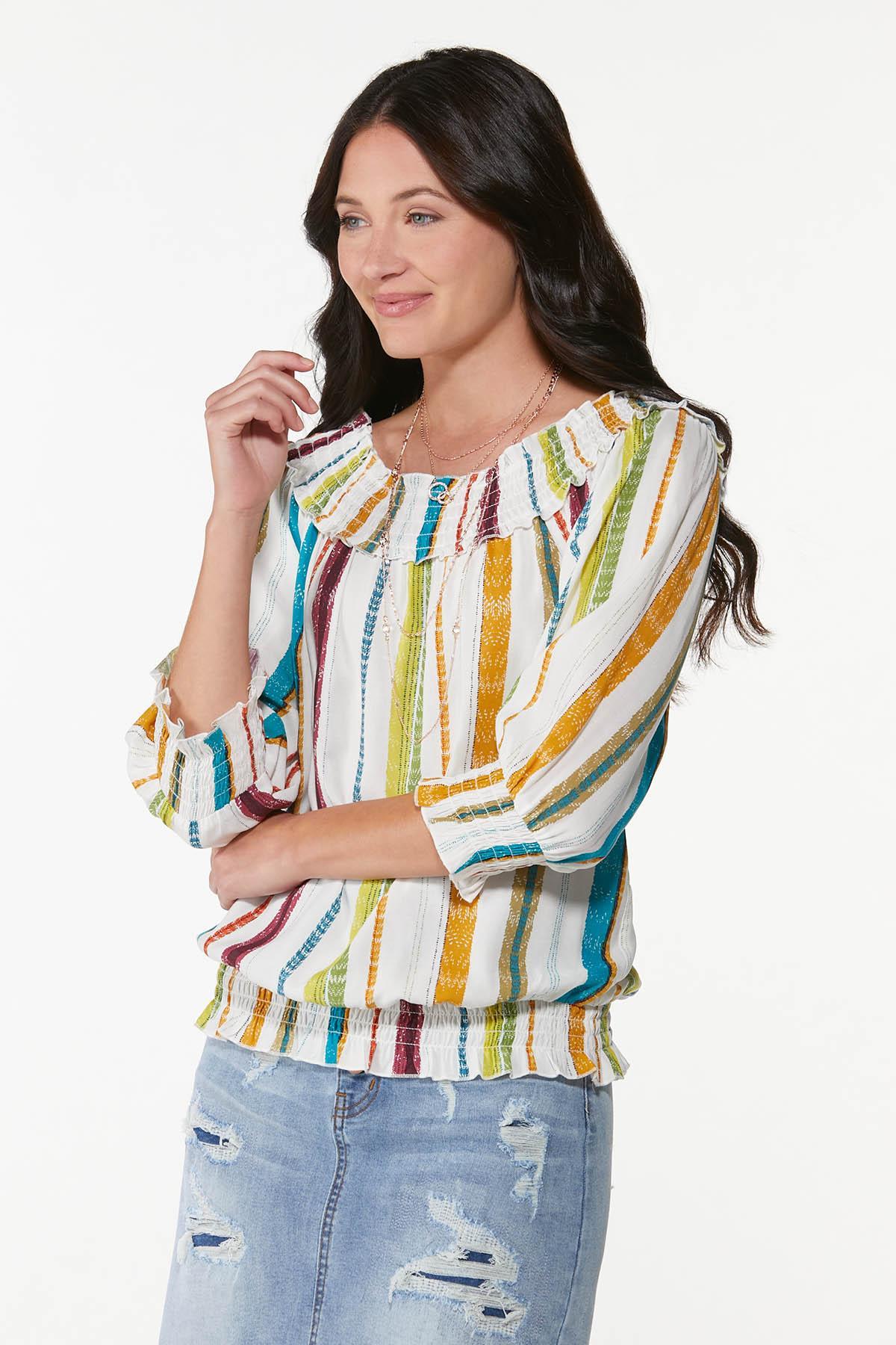 Plus Size Smocked Multi Stripe Top