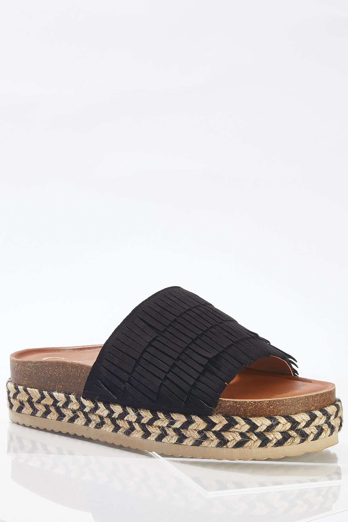 Fringe Band Flatform Sandals