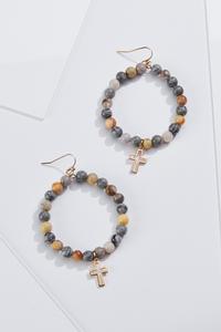 Beaded Cross Charm Earrings