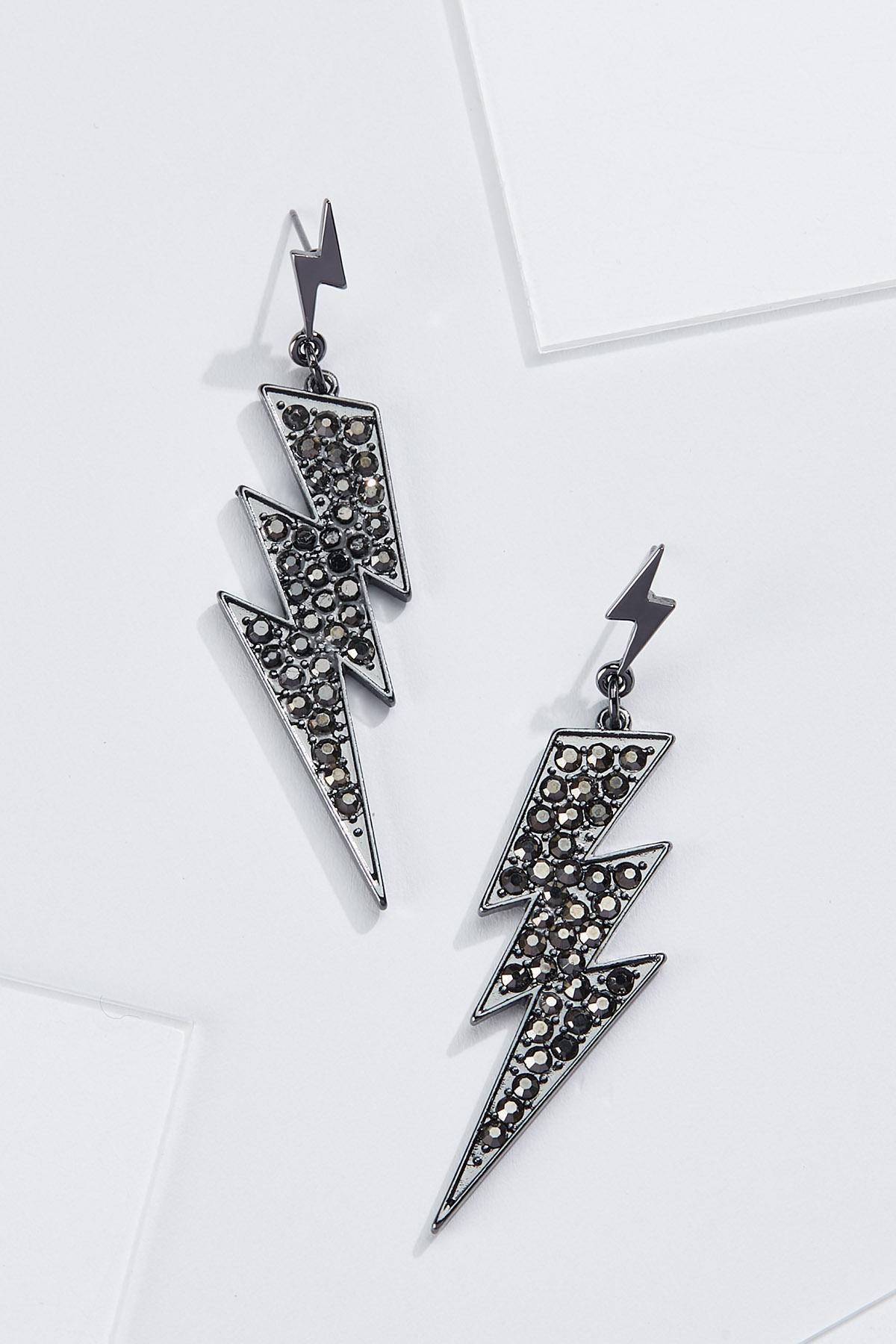 Metal Lightning Bolt Earrings