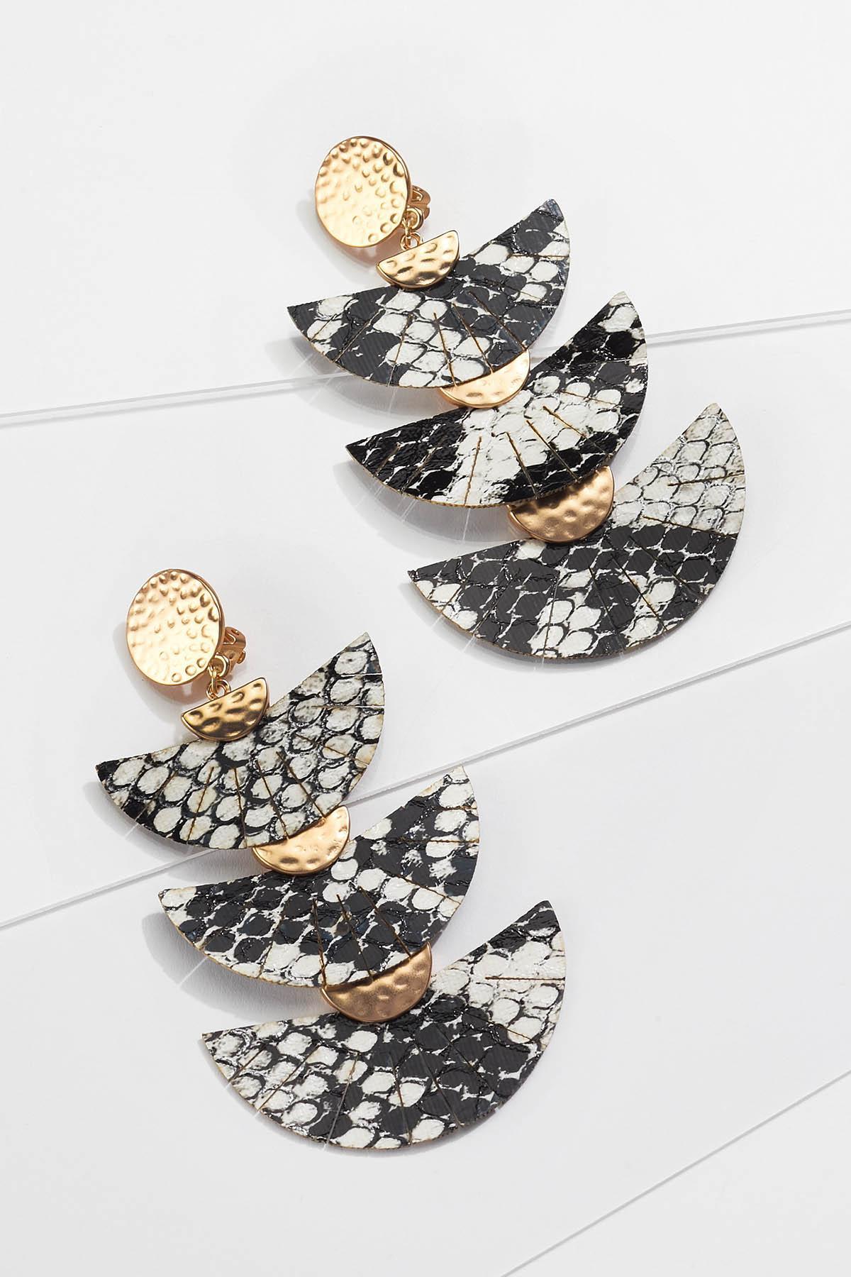 Fanned Snakeskin Clip-On Earrings