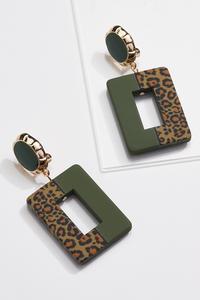 Olive Leopard Clip-On Earrings