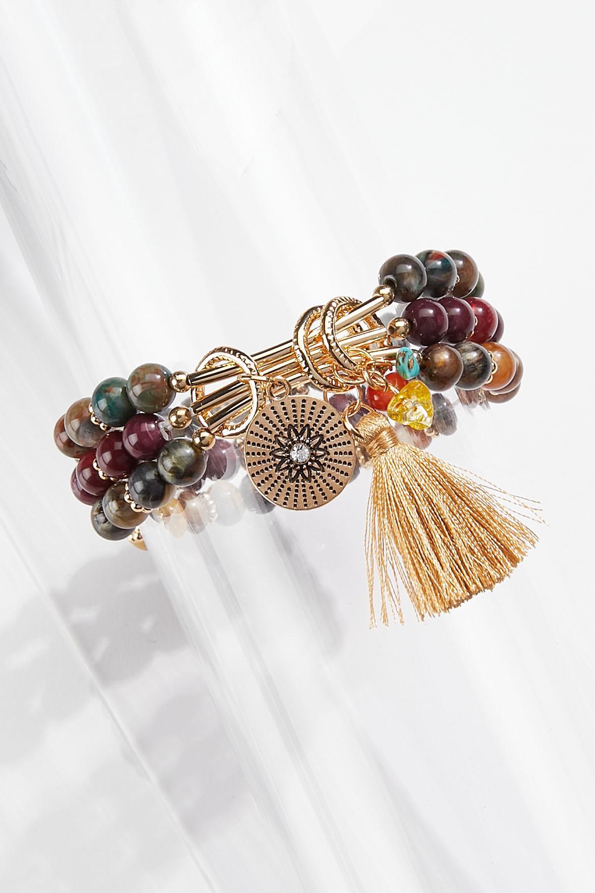 Tasseled Stone Stretch Bracelet