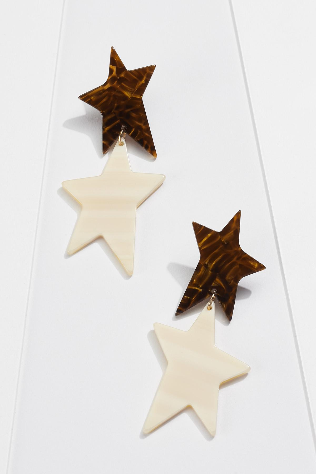 Two-Toned Star Earrings