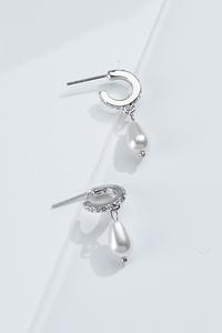 Glitzy Pearl Hoop Earrings