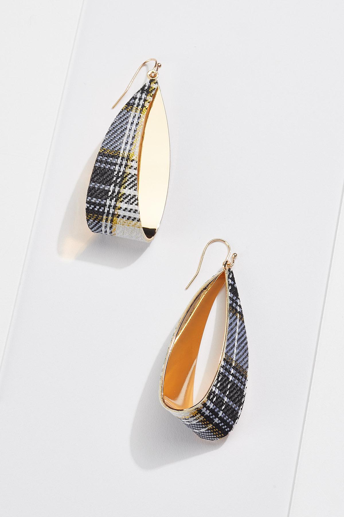 Plaid Metal Hoop Earrings