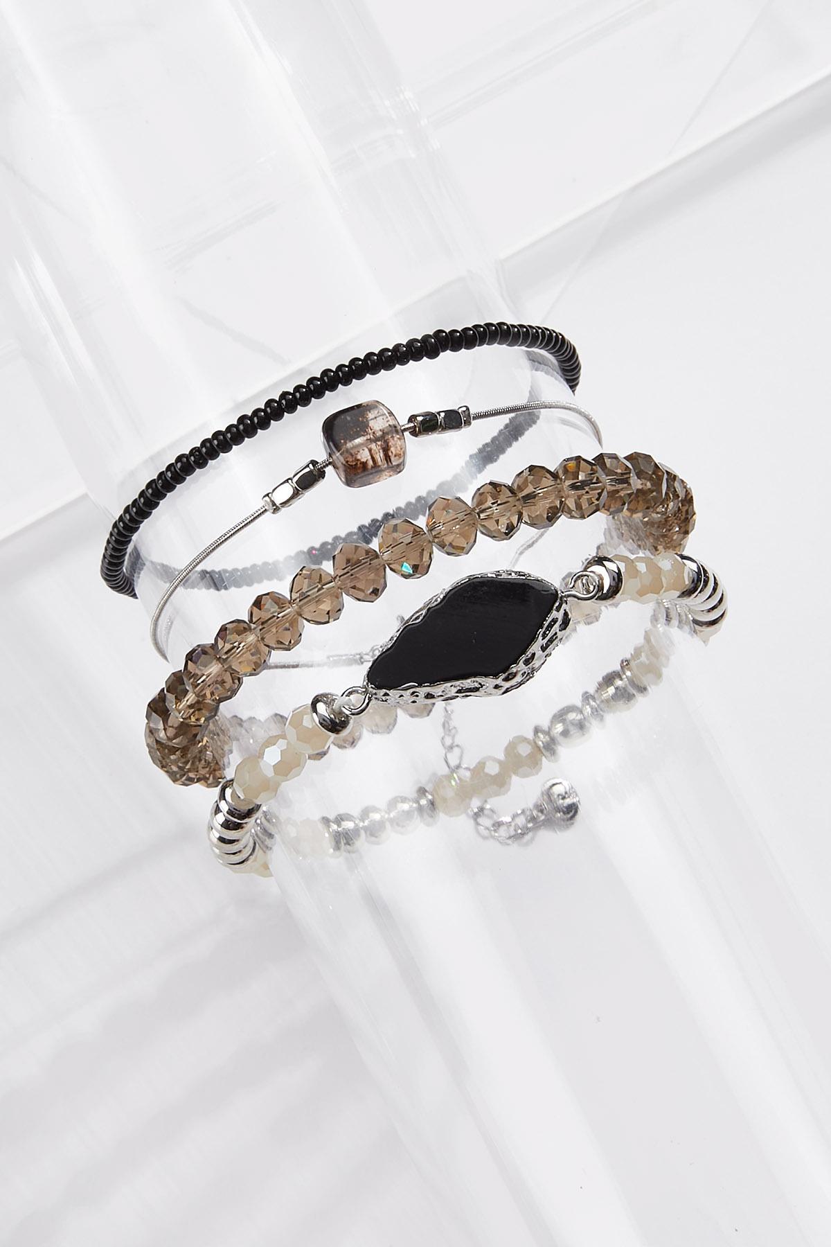 Bead Stone Stretch Bracelet Set