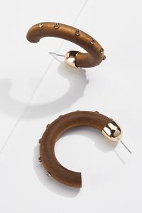 Wood Stone Hoop Earrings