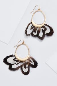 Gold Feather Fan Earrings