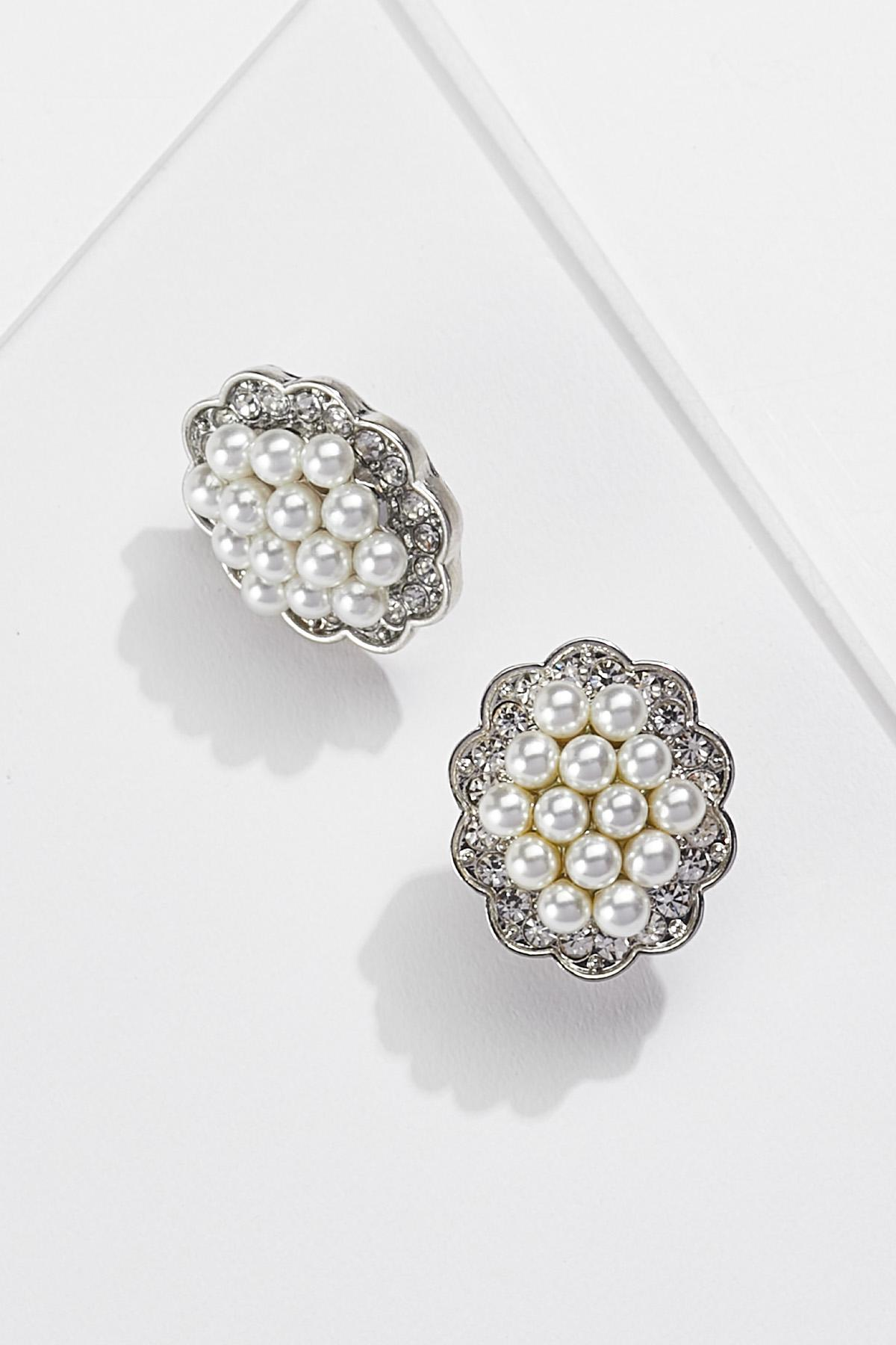 Cluster Pearl Button Clip-On Earrings