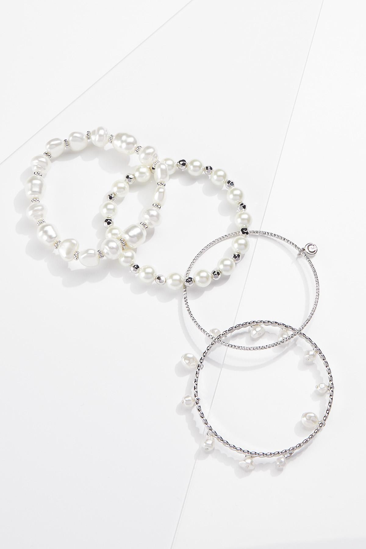 Pearl Bangle Stretch Bracelet Set