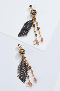 Beaded Tribal Feather Earrings