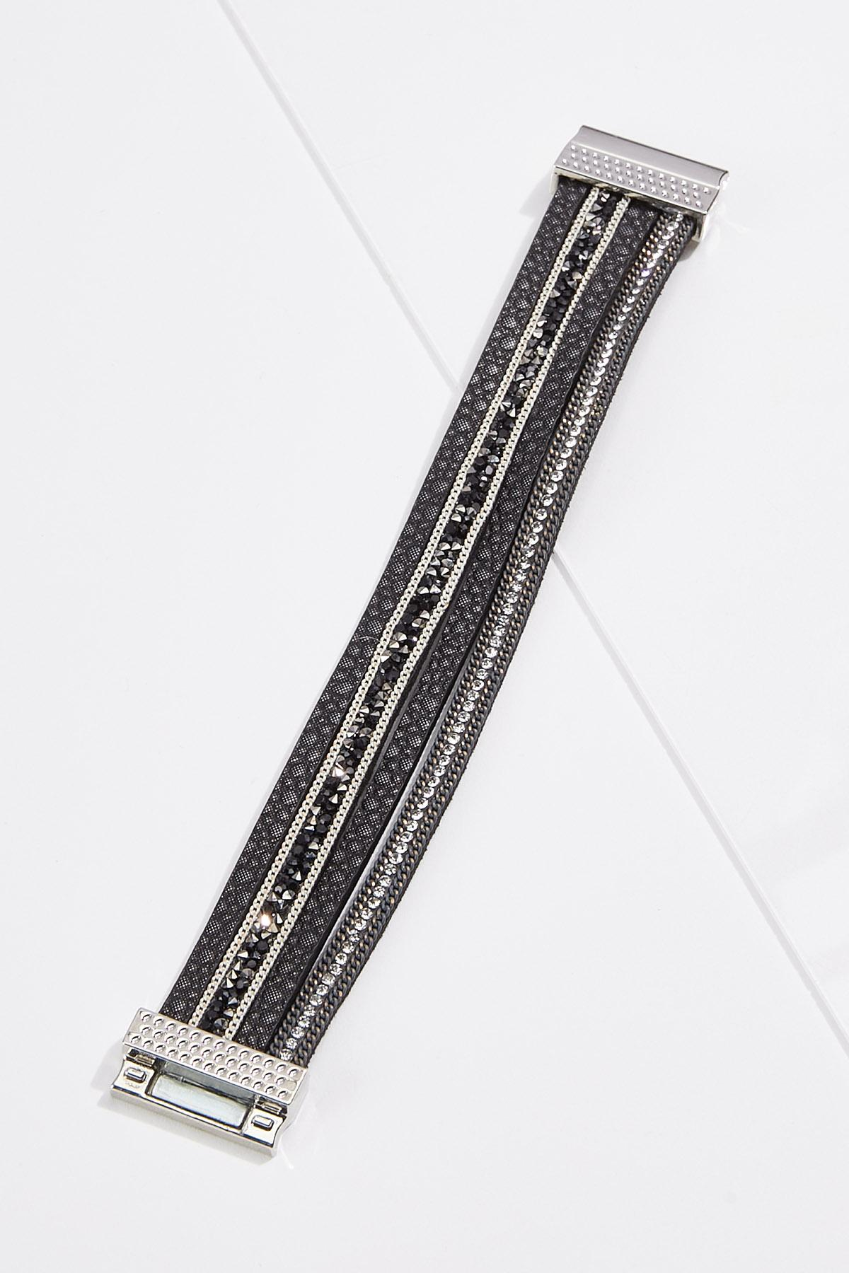 Strappy Silver Black Bracelet
