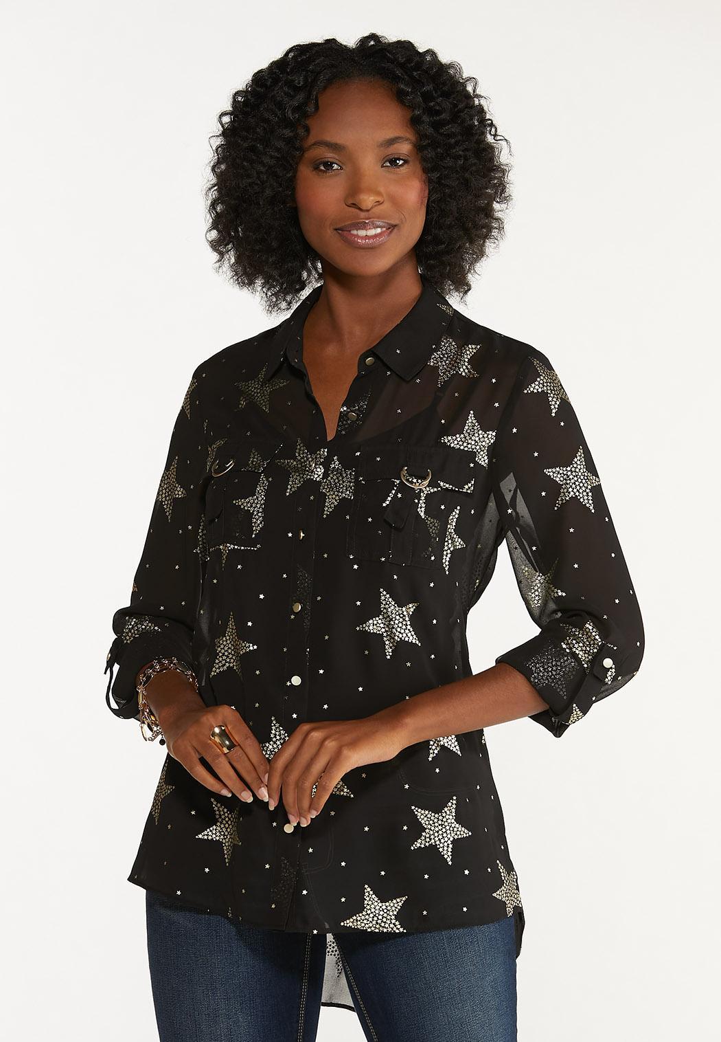 Plus Size Foiled Star Equipment Shirt