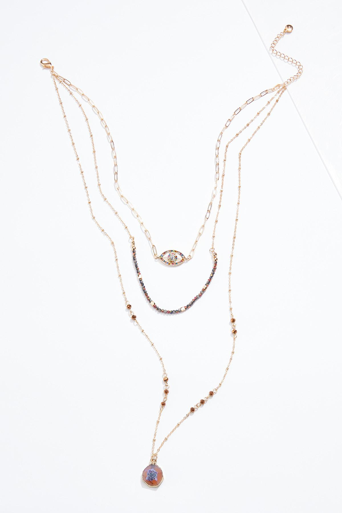Delicate Evil Eye Layered Necklace