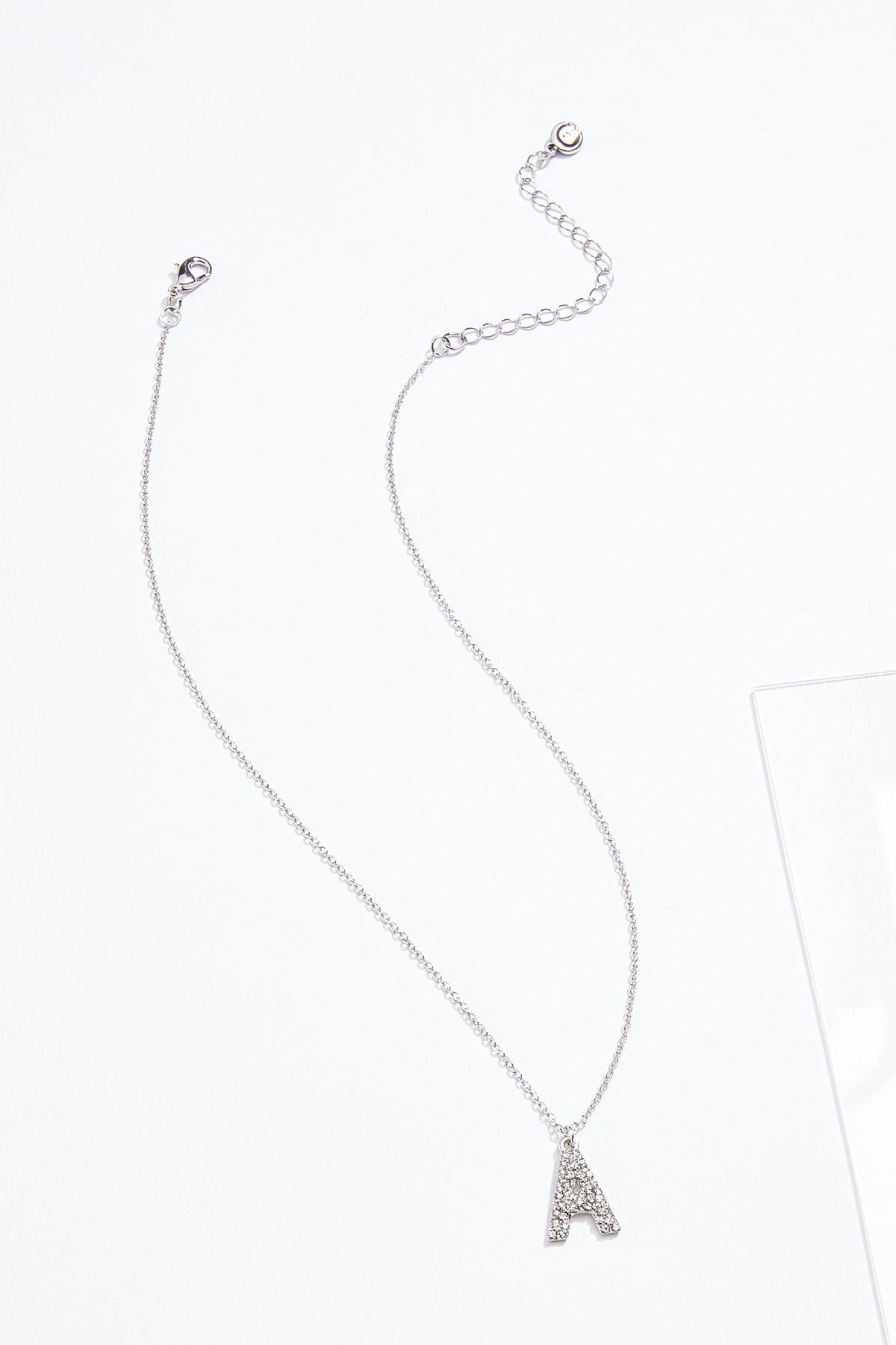 Rhinestone A Pendant Necklace